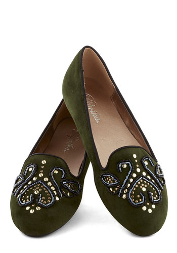 What's Pine is Yours Loafer - Flat, Green, Beads, Good, Boho, Faux Leather