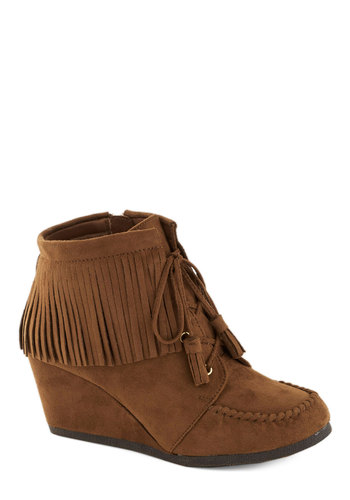 Friends with Fringe Bootie - Mid, Faux Leather, Tan, Solid, Fringed, Tassels, Boho, Wedge, Lace Up, Good, Vintage Inspired, 60s, 70s