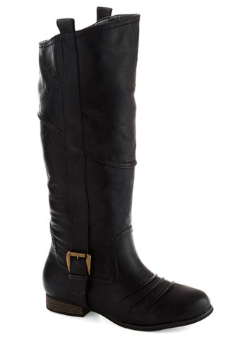 Strum-thing to Talk About Boot - Low, Faux Leather, Black, Solid, Buckles, Steampunk, Good, Casual, Fall
