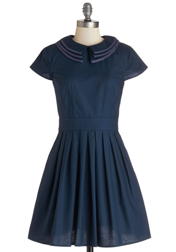 Positively Pleasant Dress - Short, Cotton, Woven, Blue, Solid, Peter Pan Collar, Pockets, Party, Short Sleeves, Better, Collared, Daytime Party, Vintage Inspired, 20s, Exclusives, Gifts Sale