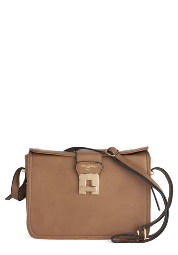 Cool Connection Bag by Nice Things - Solid, International Designer, Faux Leather, Tan, Work, Gifts Sale