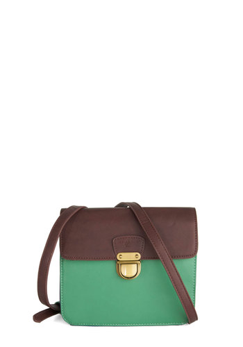 What Brings You Here? Bag by Nice Things - Green, Colorblocking, International Designer, Faux Leather, Brown, Work