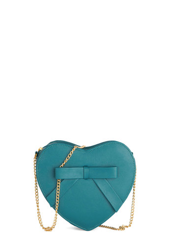 Look Into Your Heart Bag - Blue, Solid, Bows, International Designer, Faux Leather, Chain, Girls Night Out, Valentine's
