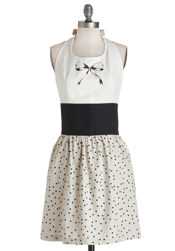 Chocolate Chip Cookie Bow Apron - Woven, Better, White, Black, Polka Dots, Novelty Print