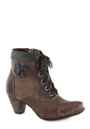 Hip the Script Bootie - Mid, Leather, Brown, Flower, Lace, Best, Solid
