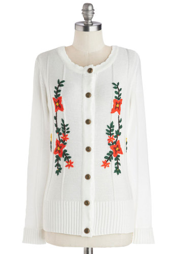 Lake Geneva Sweater - Cream, Multi, Floral, Embroidery, Long Sleeve, Better, Mid-length, Woven, Folk Art, Holiday, White, Long Sleeve