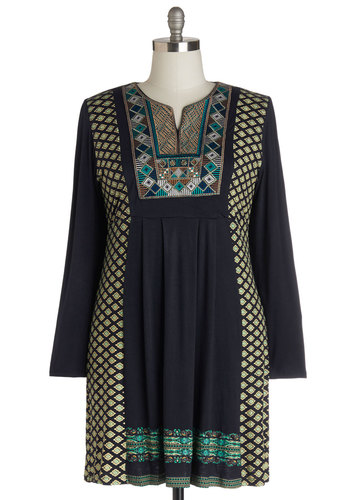 Dean of DIY Dress in Plus Size - Jersey, Knit, Blue, Multi, Casual, Sheath / Shift, Long Sleeve, Better, Green, Print, Embroidery, Boho, Folk Art, Winter