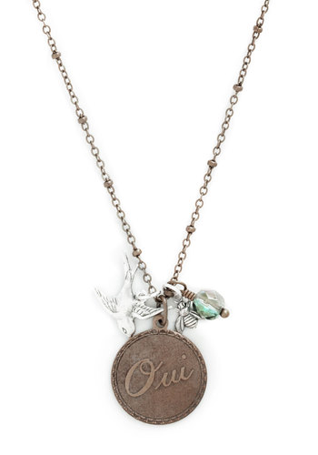 Yes Indeed Necklace - Multi, Gold, Solid, Print with Animals, Charm, Gold, Better, Beads, Top Rated