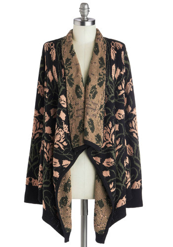 Botanical Book Club Cardigan - Knit, Black, Tan / Cream, Floral, Casual, Long Sleeve, Fall, 20s, Multi, Long Sleeve, Long