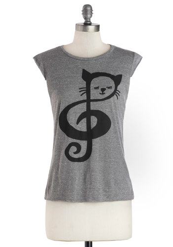 Chords and Tabbies Top - Grey, Black, Print with Animals, Short Sleeves, Good, Mid-length, Jersey, Knit, 90s, Grey, Short Sleeve
