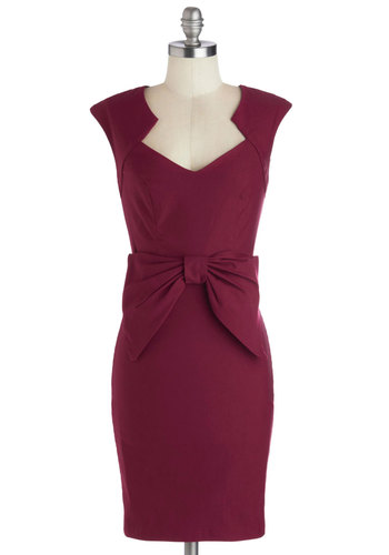 Sculpture Walk Dress - Mid-length, Knit, Red, Solid, Bows, Work, Sheath / Shift, Sleeveless, Good, Cocktail, Valentine's