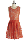 The Ingenue You Dress - Mid-length, Woven, Orange, Solid, Lace, Party, A-line, Sleeveless, Good, Exclusives, Scoop, Lace, Wedding, Bridesmaid