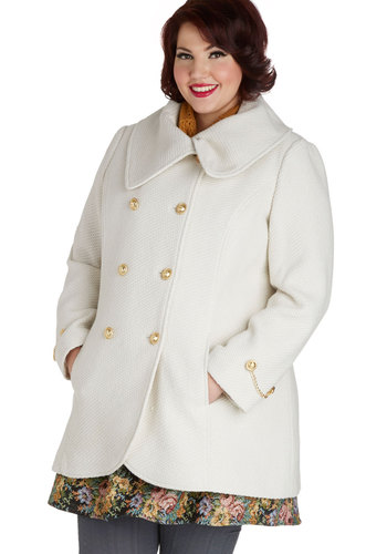 On the Way Home Coat in Plus Size - 3, White, Solid, Buttons, Pockets, Double Breasted, Long Sleeve, Fall, Winter, Holiday Party, White, Gifts Sale