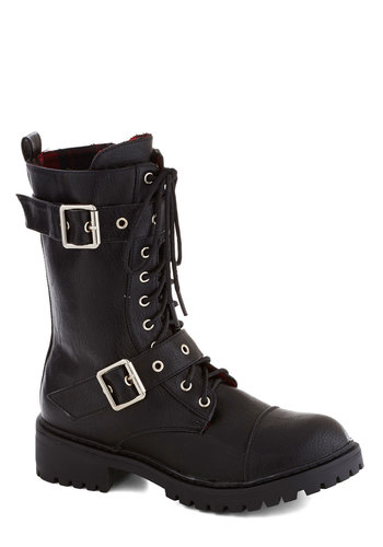 Zine You Around Boot - Black, Solid, Buckles, Military, Steampunk, Low, Better, Lace Up, Faux Leather, 90s