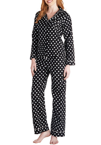 Dorm and Cozy Pajamas - White, Polka Dots, Pockets, Trim, Long Sleeve, Cotton, Woven, Black, Collared