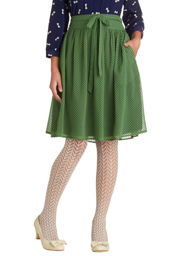 Verdant Vogue Skirt by Tulle Clothing - Green, Polka Dots, Belted, Work, A-line, Mid-length, Chiffon, Woven, Pockets, Daytime Party, Green