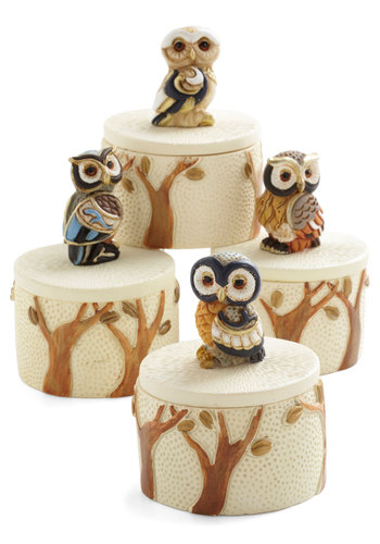 Ring in the Evening Keepsake Box - Multi, Owls, Good, Tan / Cream, Print with Animals, Folk Art, Top Rated, Critters, Bird, Woodland Creature