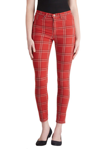 Your Fair Square Pant - Cotton, Red, Black, White, Plaid, Pockets, Casual, Vintage Inspired, 90s, Skinny, Woven