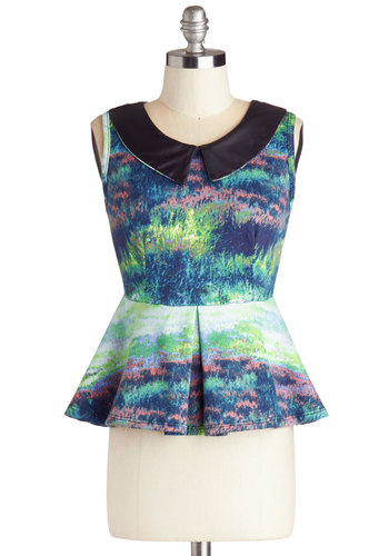 Rock Around the Dock Top - Short, Print, Peter Pan Collar, Party, Daytime Party, Neon, Sleeveless, Good, Collared, Multi, Pleats, Peplum, Blue, Sleeveless