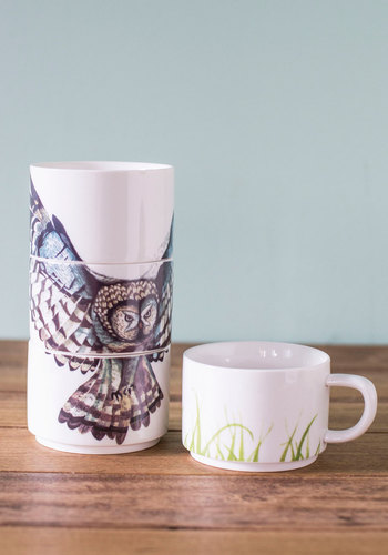 Contents May be Hoot Stacking Mug Set by IMM Living - Multi, Owls, Better, White, Halloween