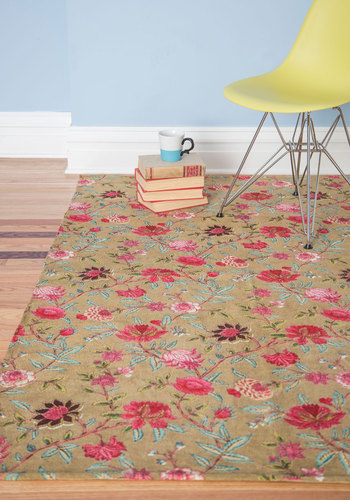 Floor-al Arrangement Rug in Beige - 4x6 by Karma Living - Cotton, Multi, Boho, Dorm Decor, Best, Floral