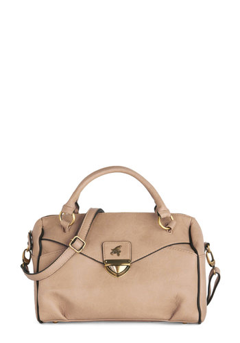 Beak the Rush Bag by Nice Things - Tan, Solid, Work, International Designer, Faux Leather
