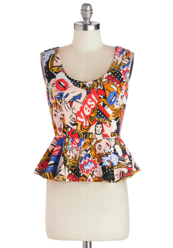 Superfan Top - Short, Knit, Multi, Novelty Print, Casual, Peplum, Scoop, Multi, Sleeveless