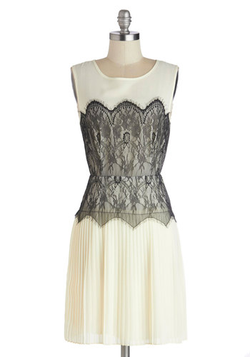 Charleston Charm Dress by Darling - Lace, Pleats, White, Black, Wedding, Cocktail, A-line, Sleeveless, Better, Scoop, 20s, Mid-length, Woven, Vintage Inspired