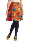 Brightest Bouquet Skirt by Louche - Mid-length, Woven, Orange, Floral, Daytime Party, A-line, Orange