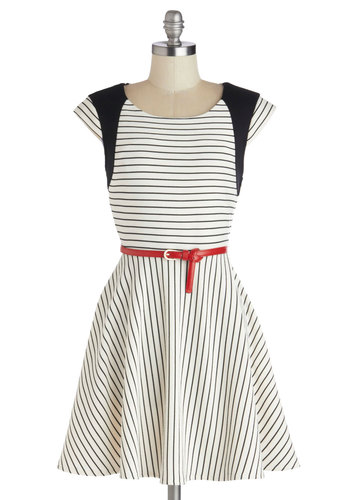 Piano it All Dress - White, Red, Black, Stripes, Belted, Casual, A-line, Cap Sleeves, Knit