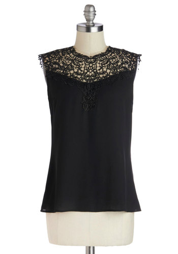 Not to Mansion Top - Mid-length, Black, Lace, Party, Girls Night Out, Sleeveless, Good, Crew, Black, Sleeveless, Lace
