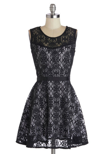 Miss Mystery Dress by Jack by BB Dakota - Black, White, Cutout, Lace, Cocktail, Fit & Flare, Sleeveless, Better, Scoop, Sheer, Knit, Woven, Mid-length, Cotton