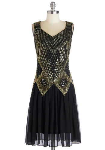 Gal About Chi-town Dress - Long, Chiffon, Woven, Black, Gold, Beads, Cutout, Sequins, Party, Cocktail, Holiday Party, Vintage Inspired, 20s, Luxe, Sleeveless, V Neck