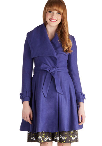 Huron a Roll Coat by Louche - Long, 3, Blue, Solid, Pockets, Belted, Long Sleeve, Fall, Winter, Purple
