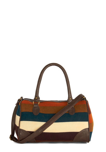 Lab Supervisor Bag - Cotton, Faux Leather, Brown, Orange, Blue, White, Stripes, Work, Good, Fall