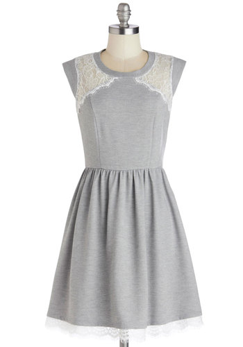 Workday to Night Dress - Mid-length, Sheer, Grey, White, Lace, Casual, A-line, Cap Sleeves, Good, Crew