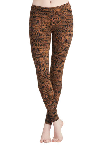 Afternoon Adventure Leggings - Brown, Black, Casual, Vintage Inspired, 90s, Better, Jersey, Cotton, Knit, Print