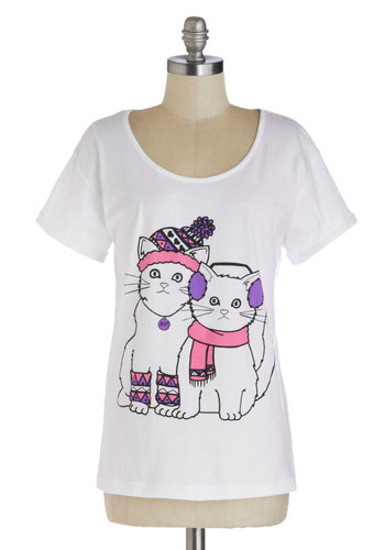 In With the Mew Top - White, Purple, Pink, Black, Quirky, Cats, Short Sleeves, Winter, Scoop, Print with Animals, Casual, Cotton, Knit, Mid-length, White, Short Sleeve