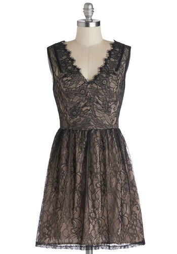 Limousine Around Town Dress - Short, Woven, Black, Tan / Cream, Lace, Party, A-line, Sleeveless, Good, V Neck, Scallops, Cocktail