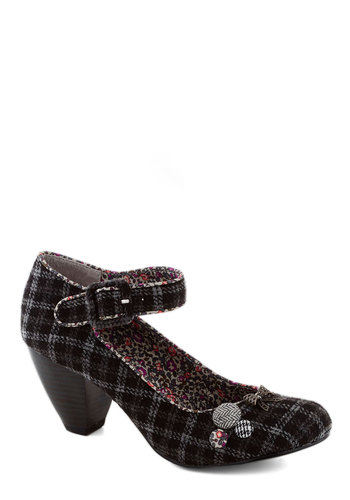 Hodgepodge Hop Heel - Grey, Multi, Print, Bows, Buttons, Mid, Chunky heel, Better, Plaid, Top Rated