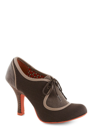 Dapper Domain Heel - Brown, Herringbone, Mid, Lace Up, Faux Leather, Better, Tan / Cream, Vintage Inspired, 20s, 30s
