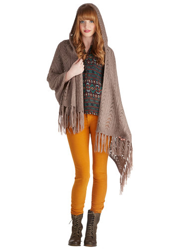 New Neighbors Shawl in Taupe - Solid, Fringed, Knitted, Fall, Winter, Better, Knit, Tan, Casual