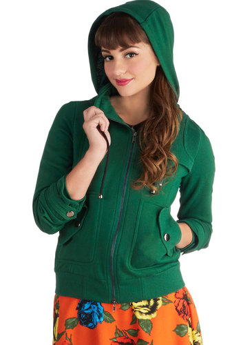 Leipzig Hoodie in Emerald - Basic, 1, Green, Solid, Exposed zipper, Pockets, Casual, Hoodie, Exclusives, Variation, Jersey, Knit, Short, Green, Top Rated