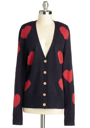 All Lovey Dovey Cardigan - Blue, Red, Buttons, Casual, Long Sleeve, Better, Knit, Novelty Print, Mid-length, Blue, Long Sleeve, Valentine's