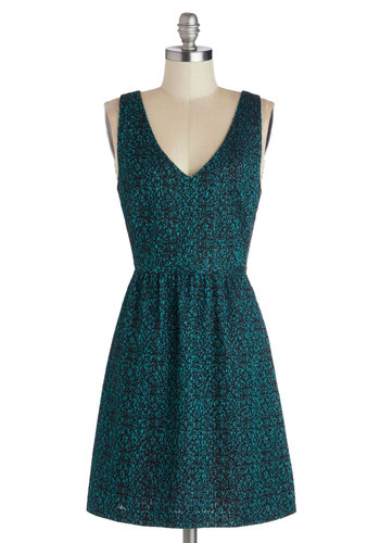 River Romance Dress - Blue, Black, Print, Party, A-line, Sleeveless, V Neck, Mid-length, Woven