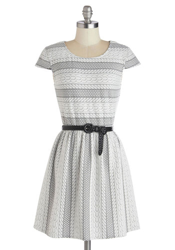 Engrave Reviews Dress - White, Print, Belted, Casual, A-line, Cap Sleeves, Knit, Grey, Stripes