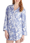Toile You Were Sleeping Nightgown - Blue, Novelty Print, Pockets, French / Victorian, Long Sleeve, Short, Cotton, Woven, White, Buttons, Collared