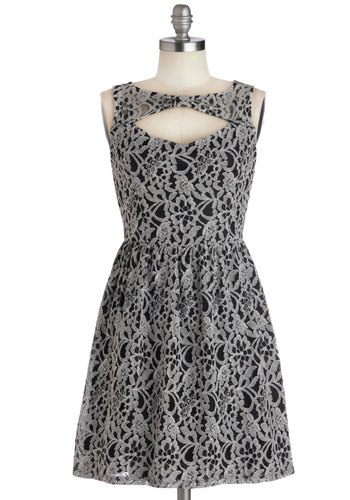 Roommate Date Dress - Black, Grey, Bows, Cutout, Lace, Party, A-line, Sleeveless, Good, Woven, Lace, Short