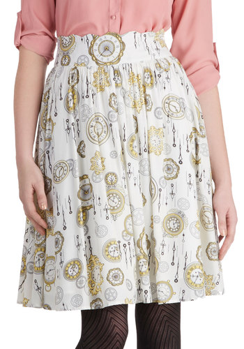 The Clock Strikes Fun Skirt by Bea & Dot - Private Label, Long, White, Novelty Print, Casual, Vintage Inspired, Woven, Exclusives, Ballerina / Tutu, White, Gifts Sale