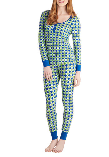 Tiptoe on the Tile Pajamas by BedHead - Multi, Green, Blue, Print, Long Sleeve, Winter, Best, Cotton, Knit, Buttons
